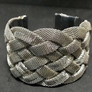 Chunky Silver Cuff Bracelet Silver Criss Cross